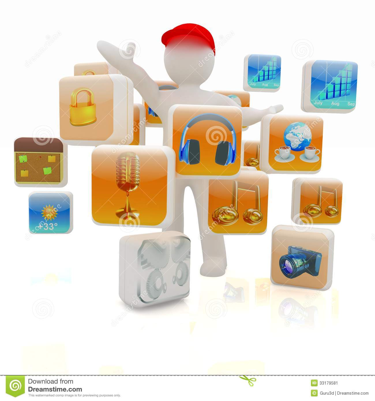 3d Man With Cloud Of Media Application Icons Stock Image