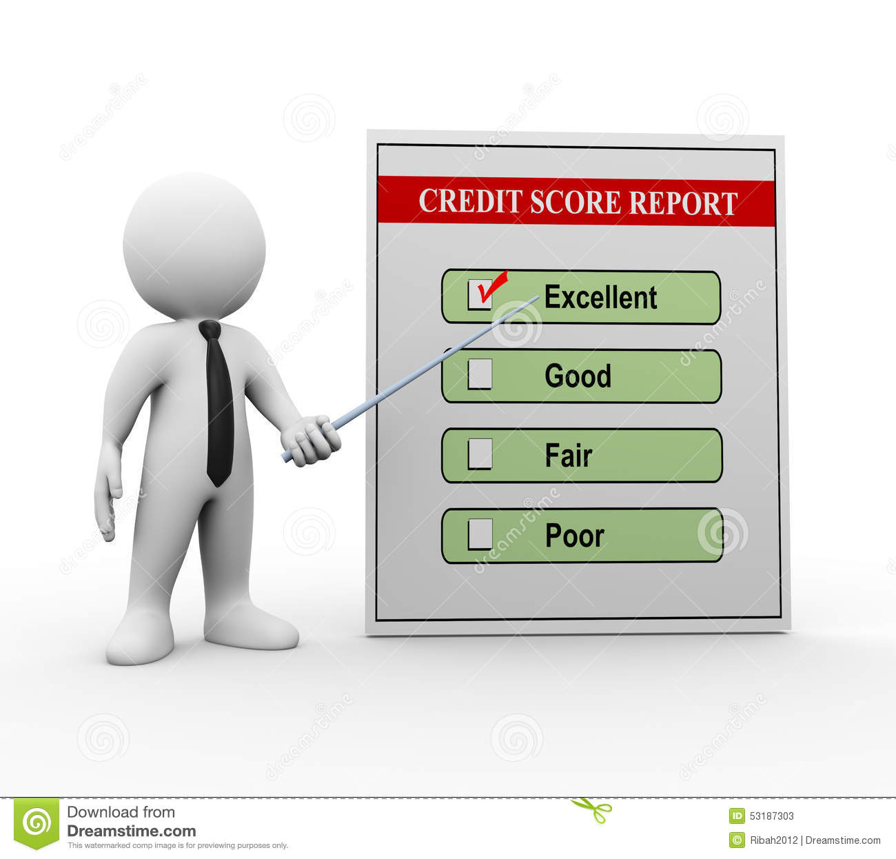 3d Man And Credit Score Report Stock Illustration ...