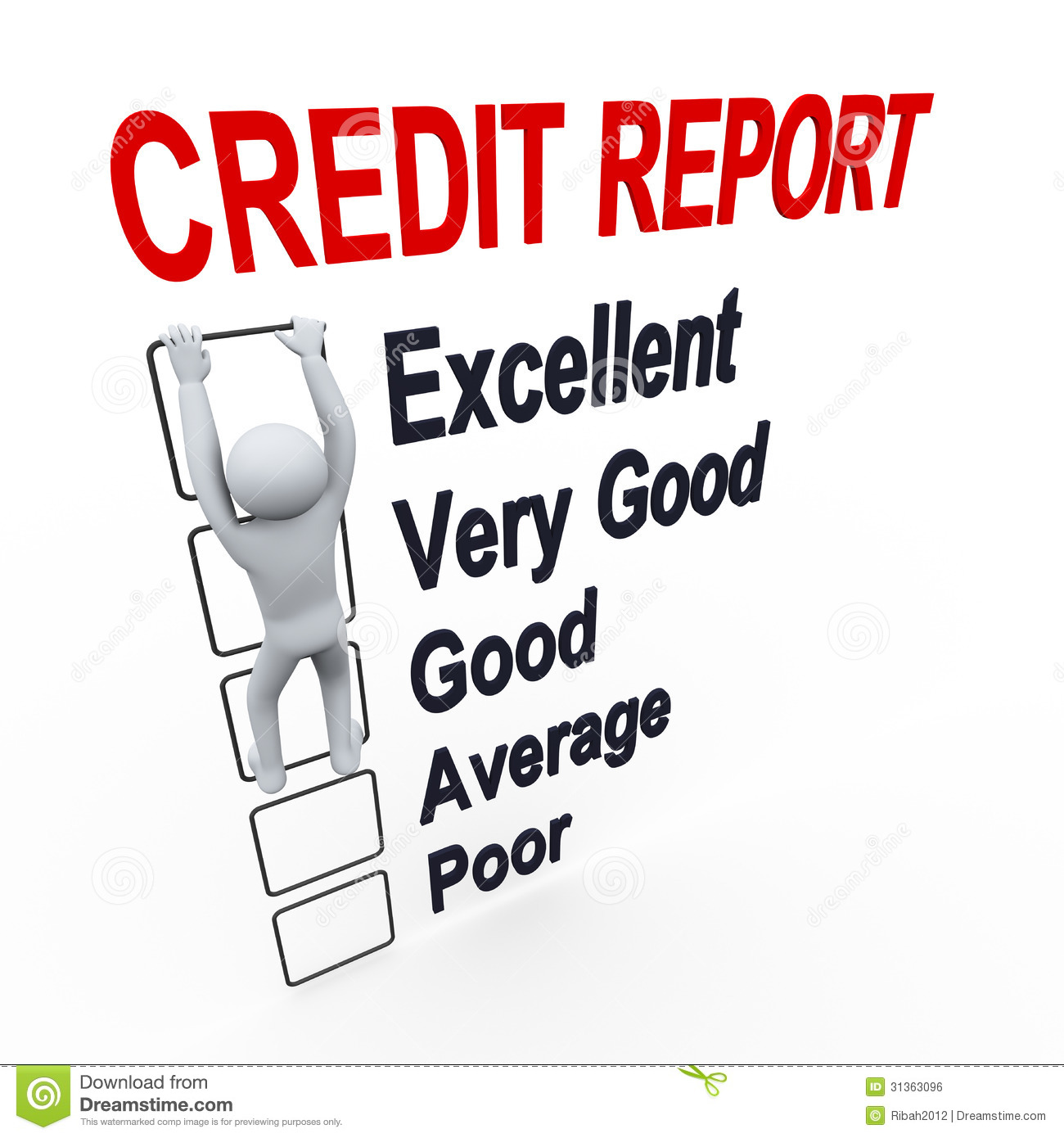 3d Man And Credit Score Report Royalty Free Stock Image ...