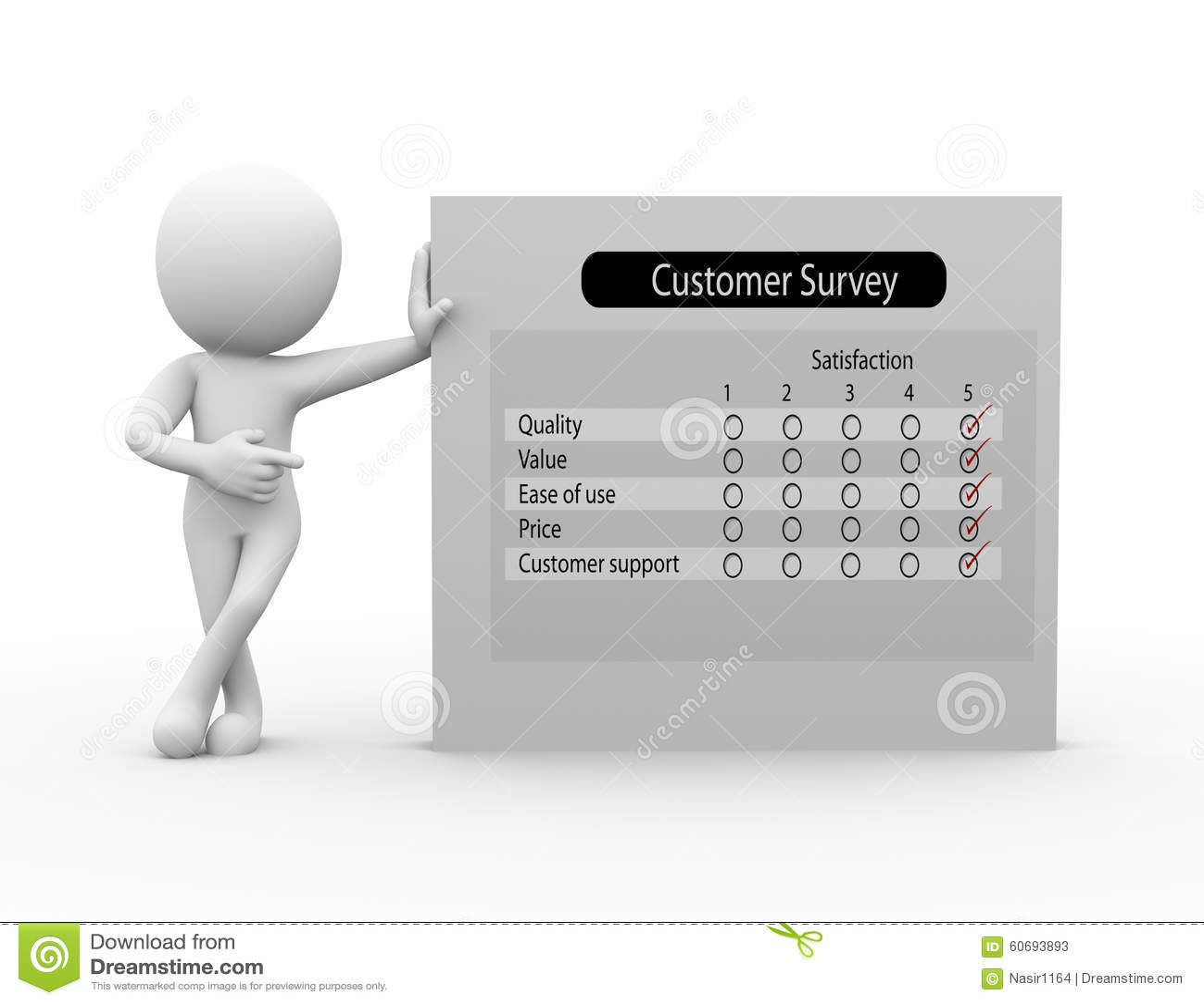 3d Man With Customer Survey Stock Illustration - Image ...