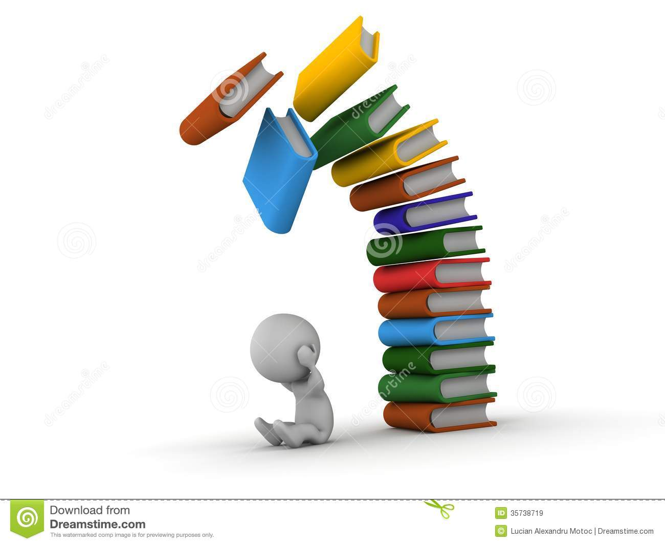 3D Man Depressed With Books Falling Over Him Royalty Free ...