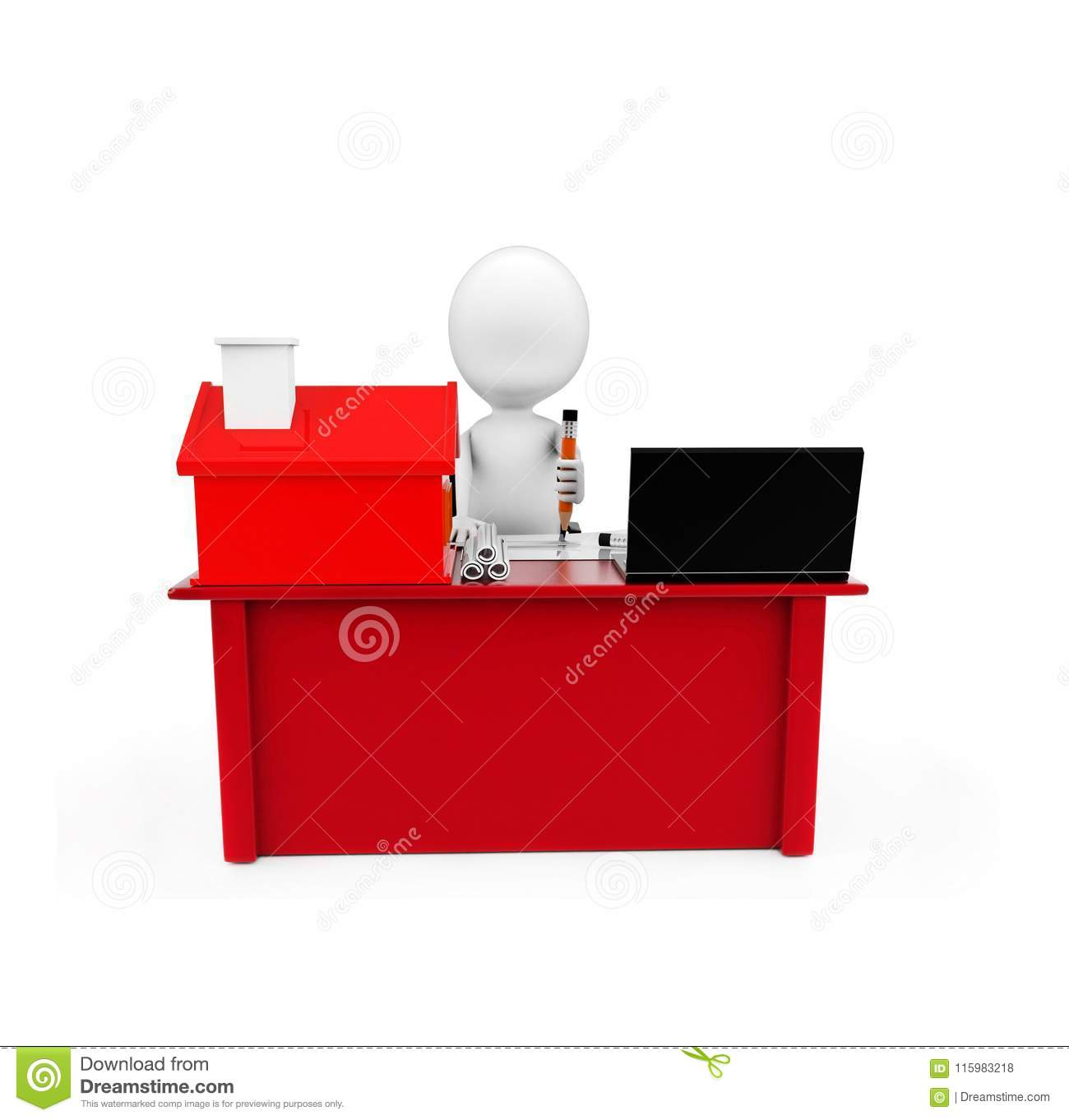 3d man drawing on paper on a desk with small model of house and