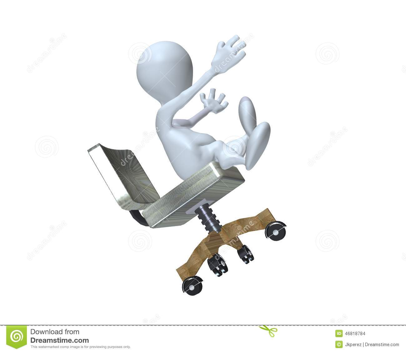 3d Floor Plans A 3d Man Falling From A Chair Stock Illustration Image