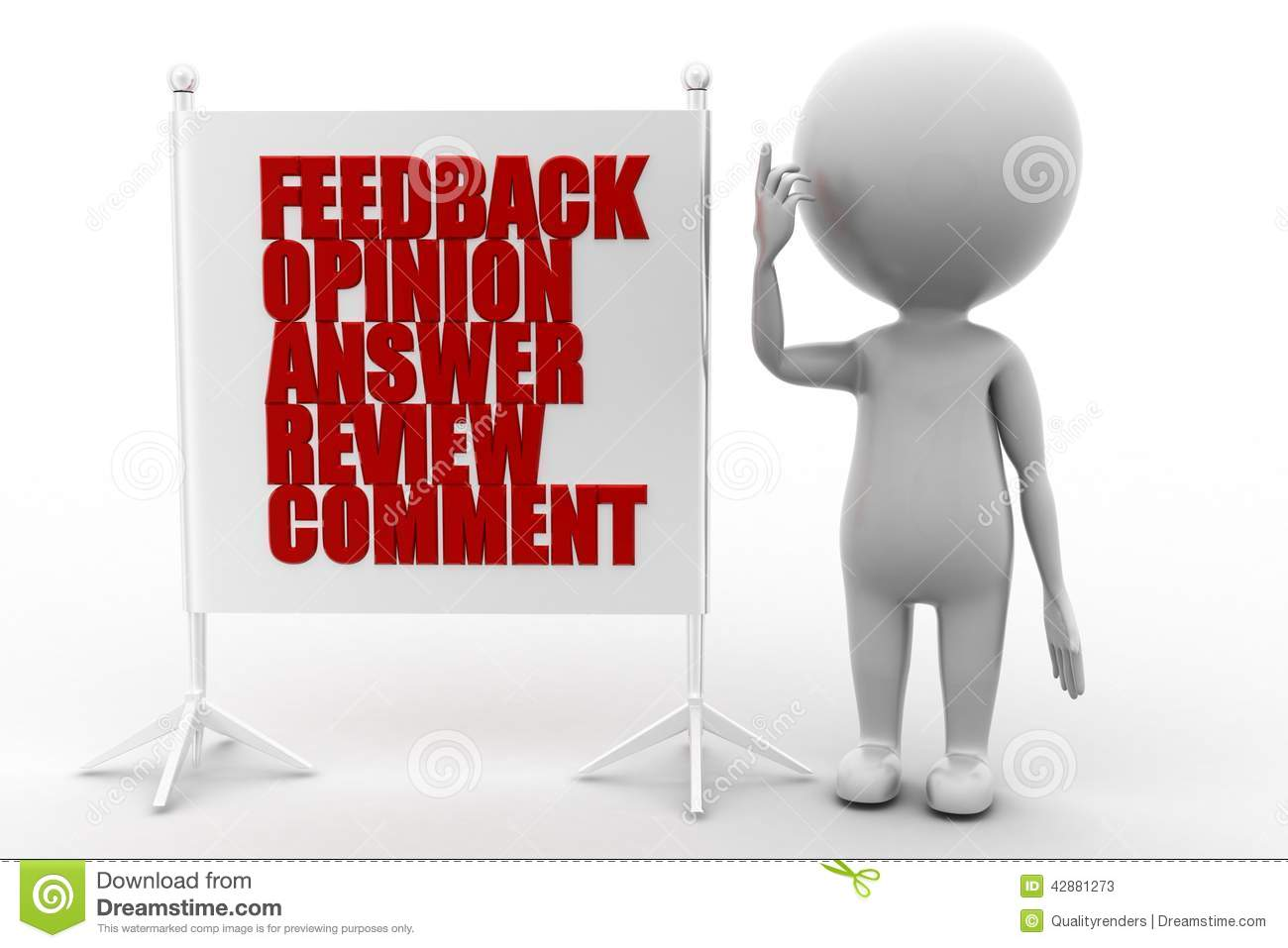 3d Man Feedback Opinion Answer Review Comment Stock ...