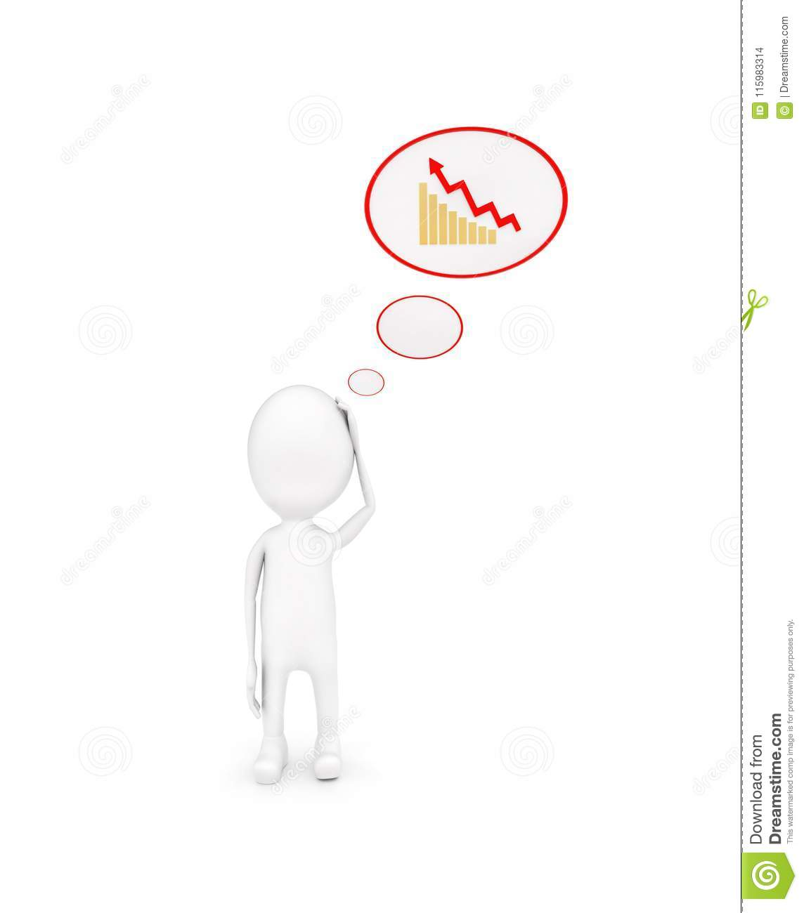 3d man with growth graph in chat bubble concept
