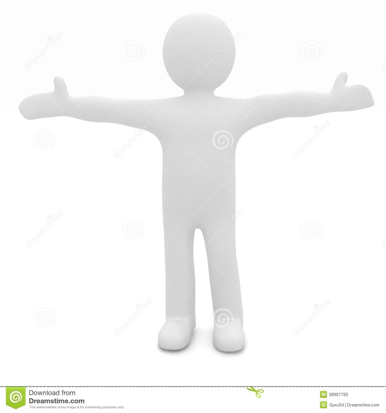 3d man happy man with wide open hands stock illustration image