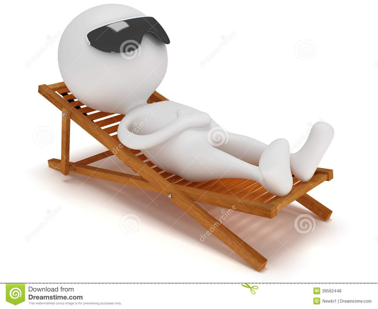 3d Man Having A Rest On Chaise Lounge Stock Illustration