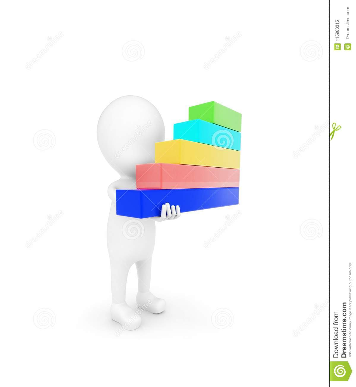 3d Man Holding Bar Graph In Hand Concept Stock Illustration