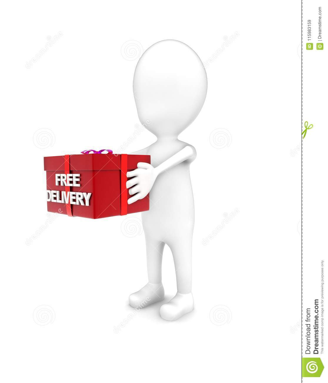 3d man holding free delivery message gift box concept