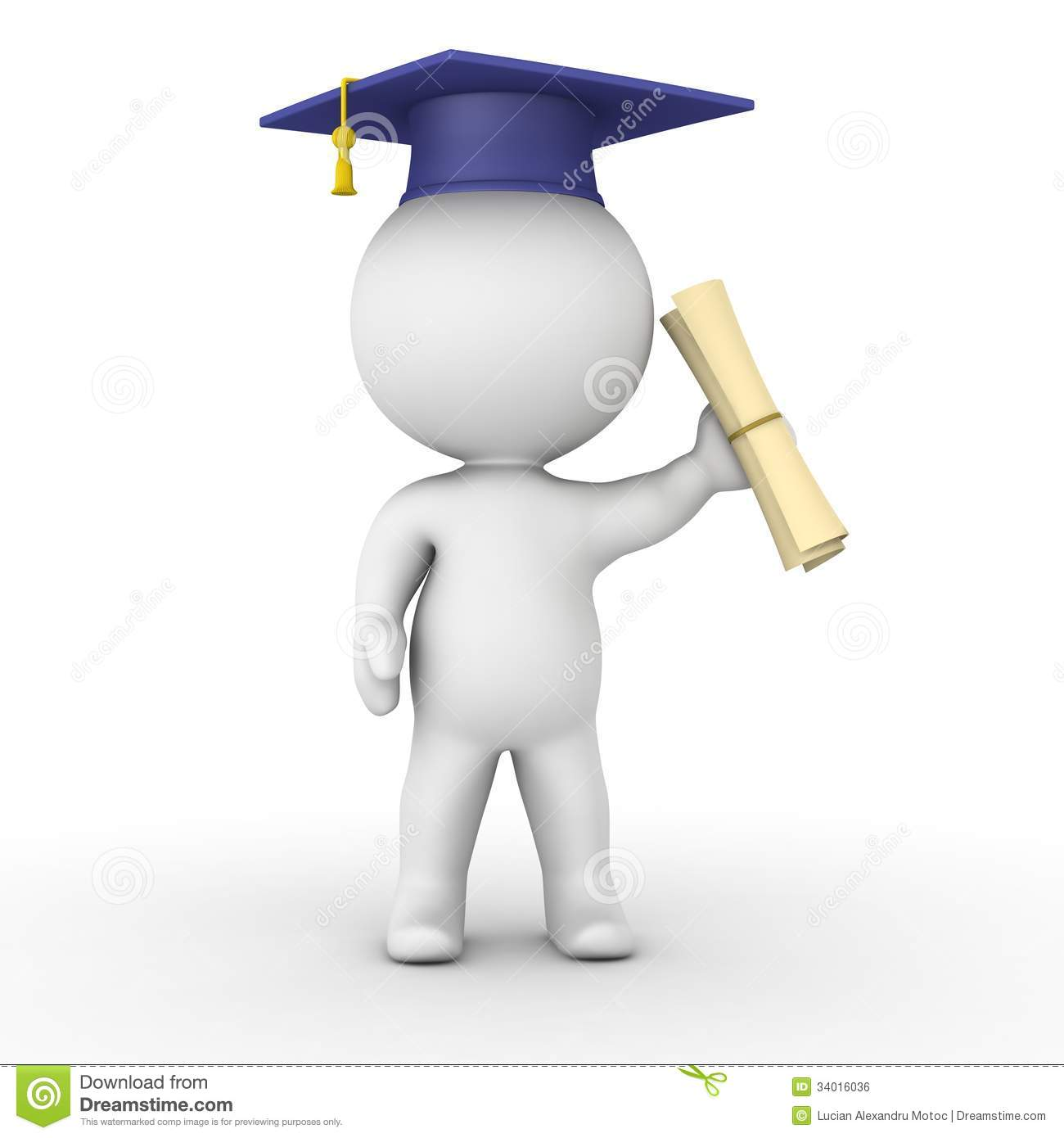 3d Man Holding Graduation Diploma Royalty Free Stock Image