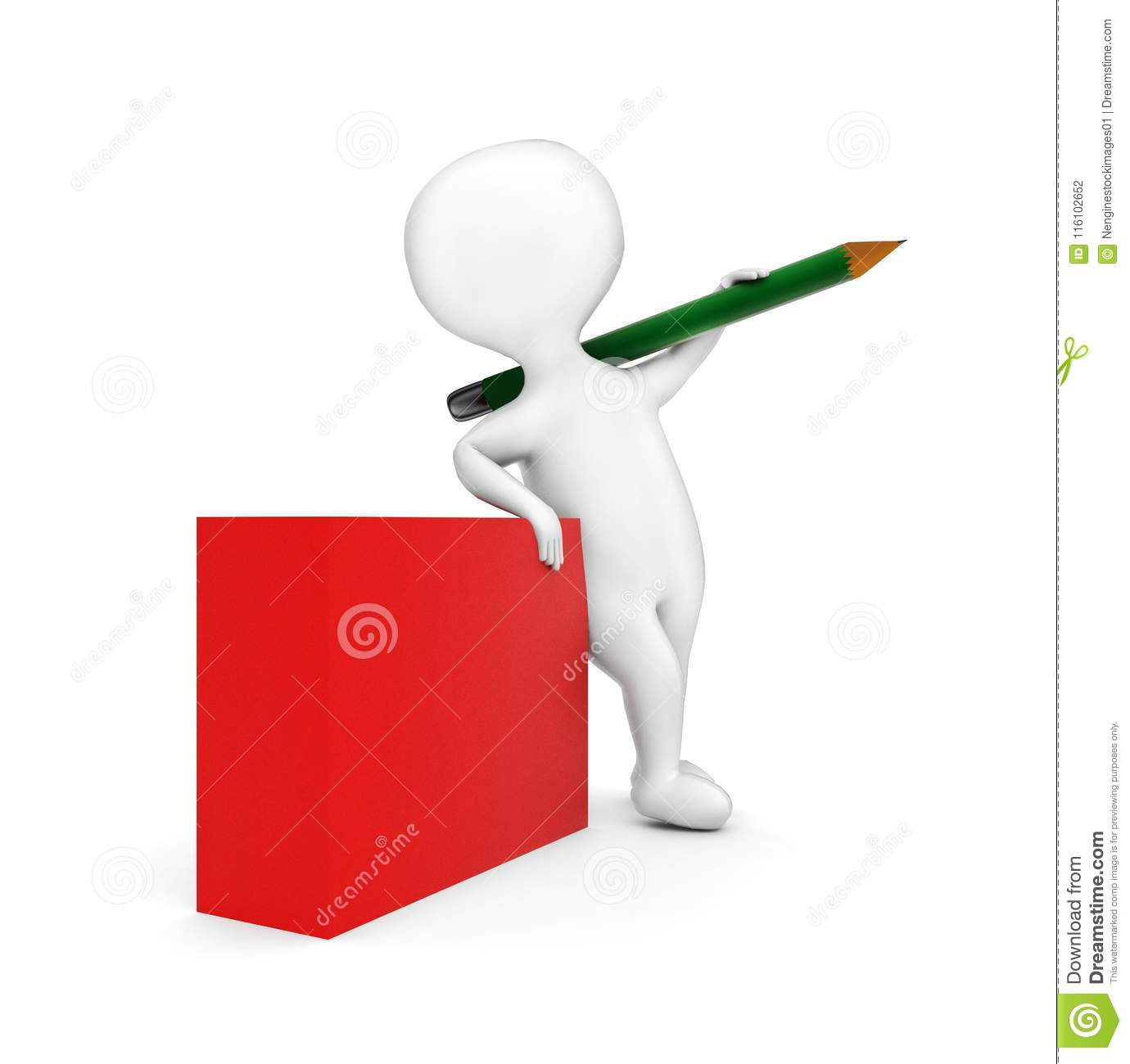 3d man holding a large pencil over his shoulder with his hand while standing near to a blank red box concept