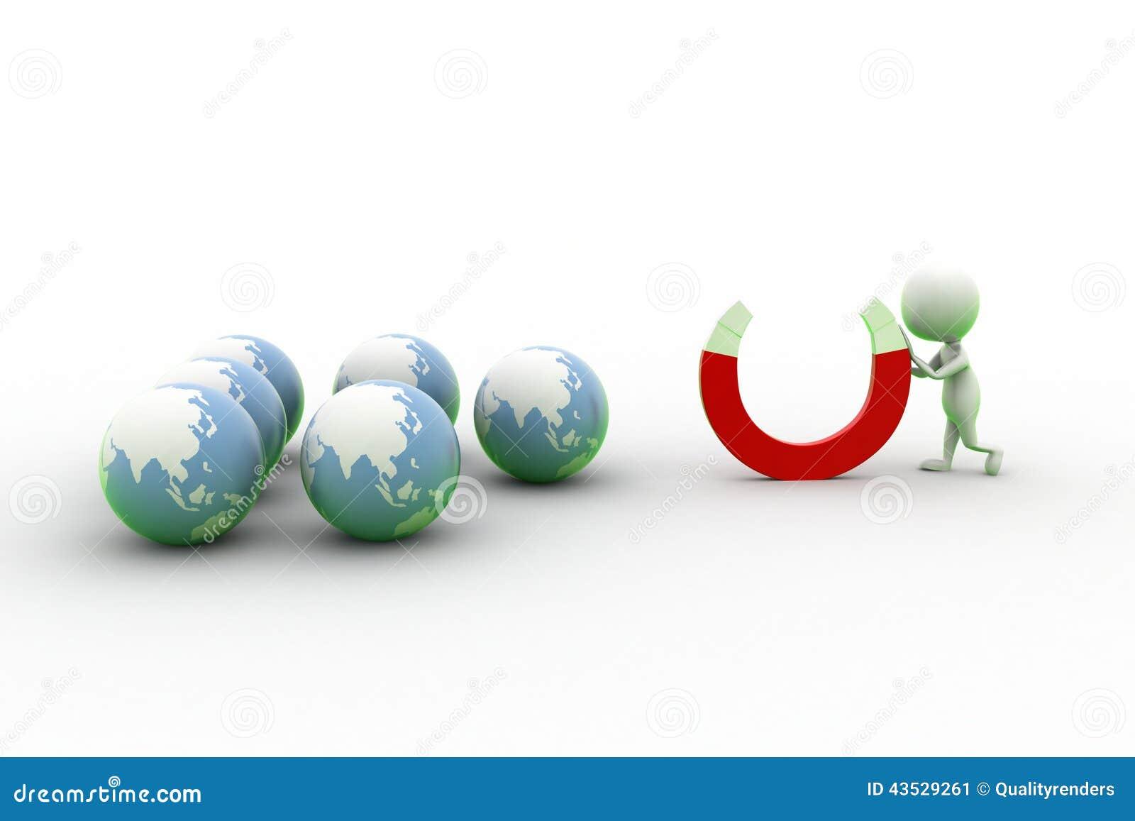 3d Man Holding Magnet Near Globe
