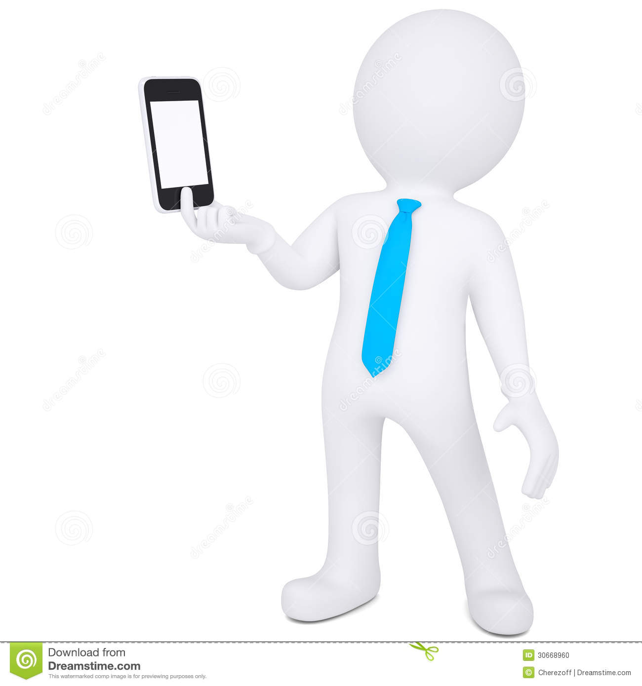 3d man holding smartphone stock illustration. Image of ...