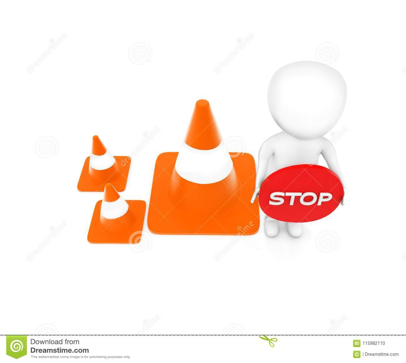 3d man holding a stop sign board in hand while standing near to a series of traffic cones concept