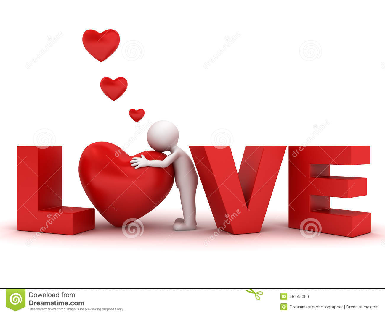 D Man Hugging Red Heart In Word Love