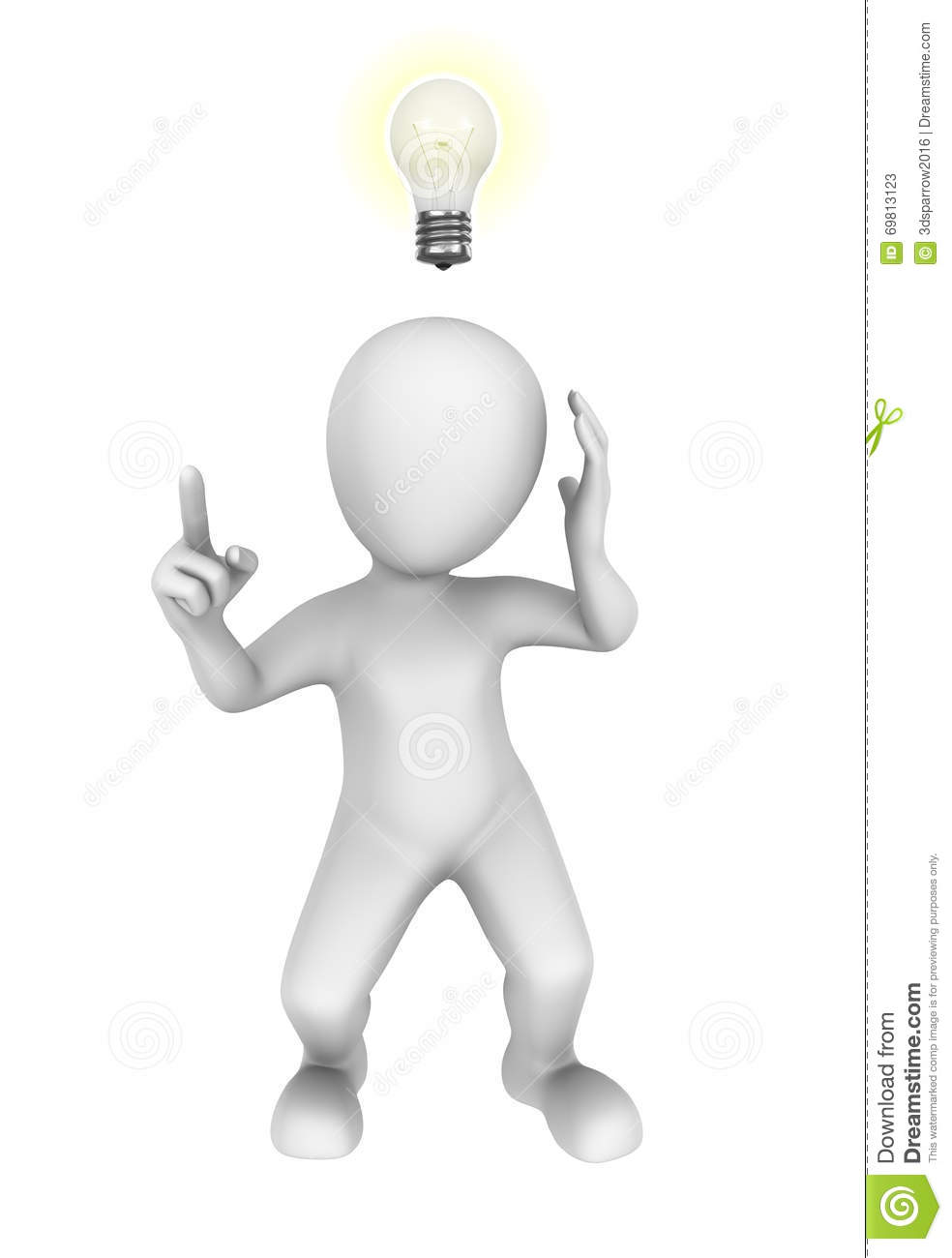 Download 3d Man With Idea Bulb Stock Illustration Of Human