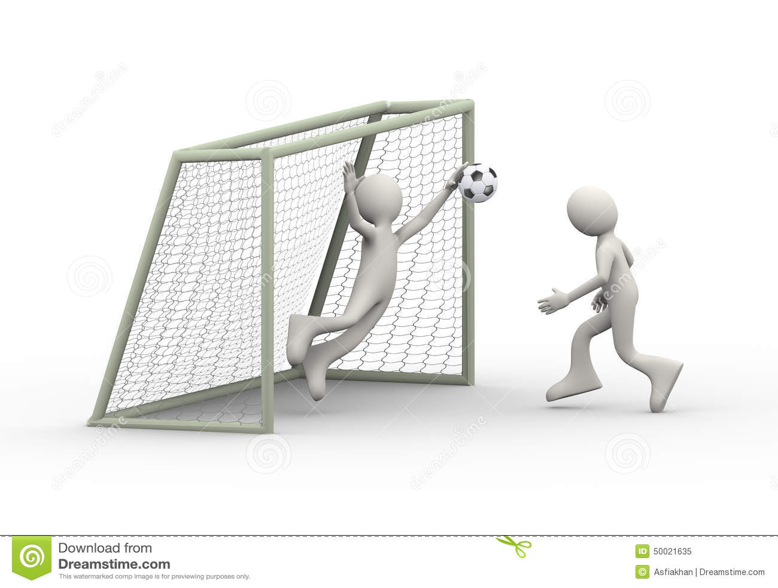 soccer player kicking ball into goal