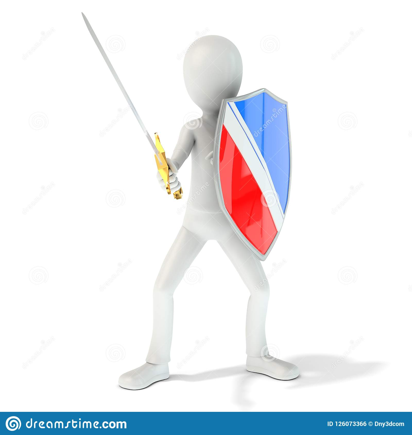 3d Man Knight With Shield And Sword Stock Illustration