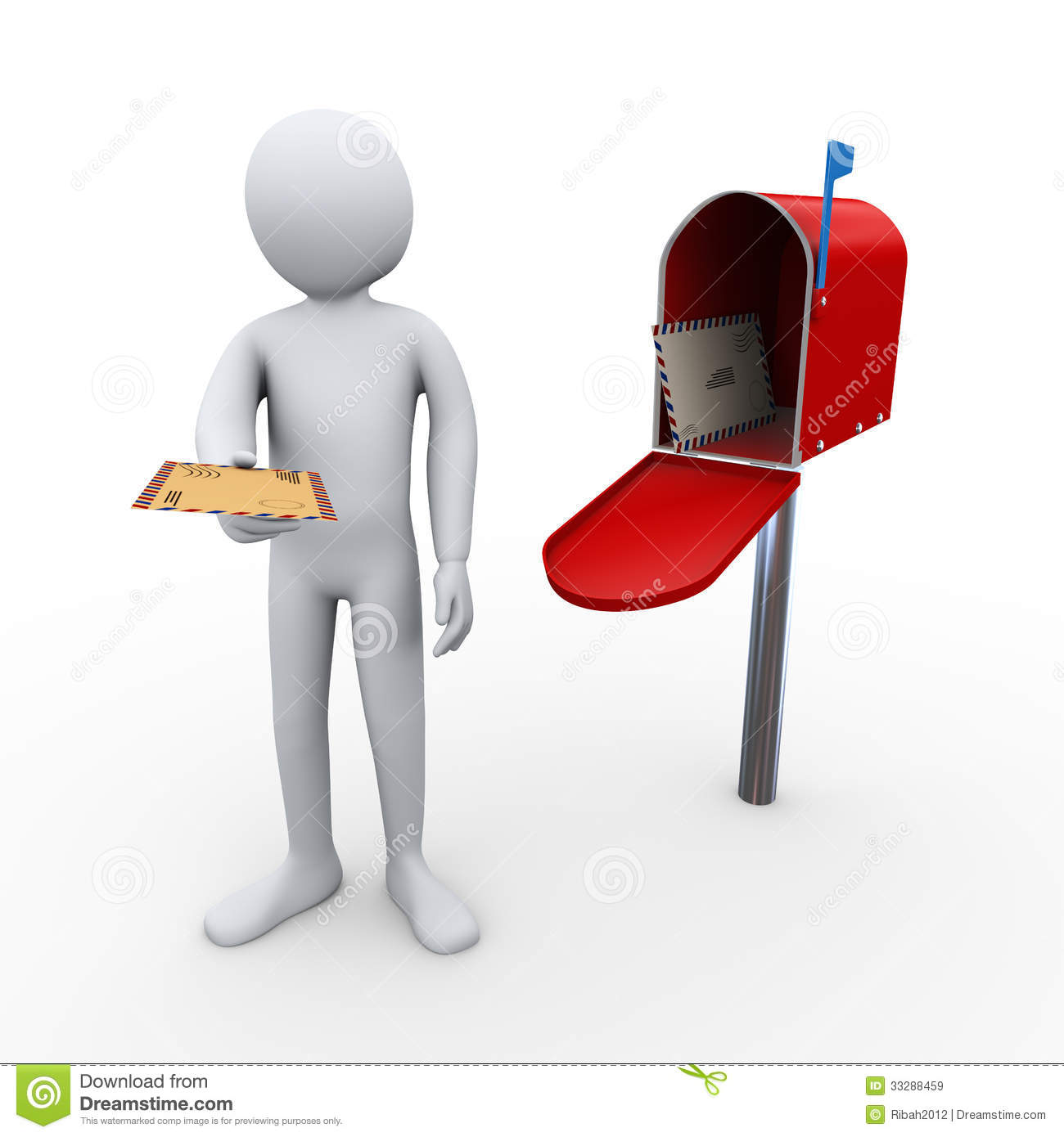 3d render of person giving letter and open mailbox with enevelopes ...