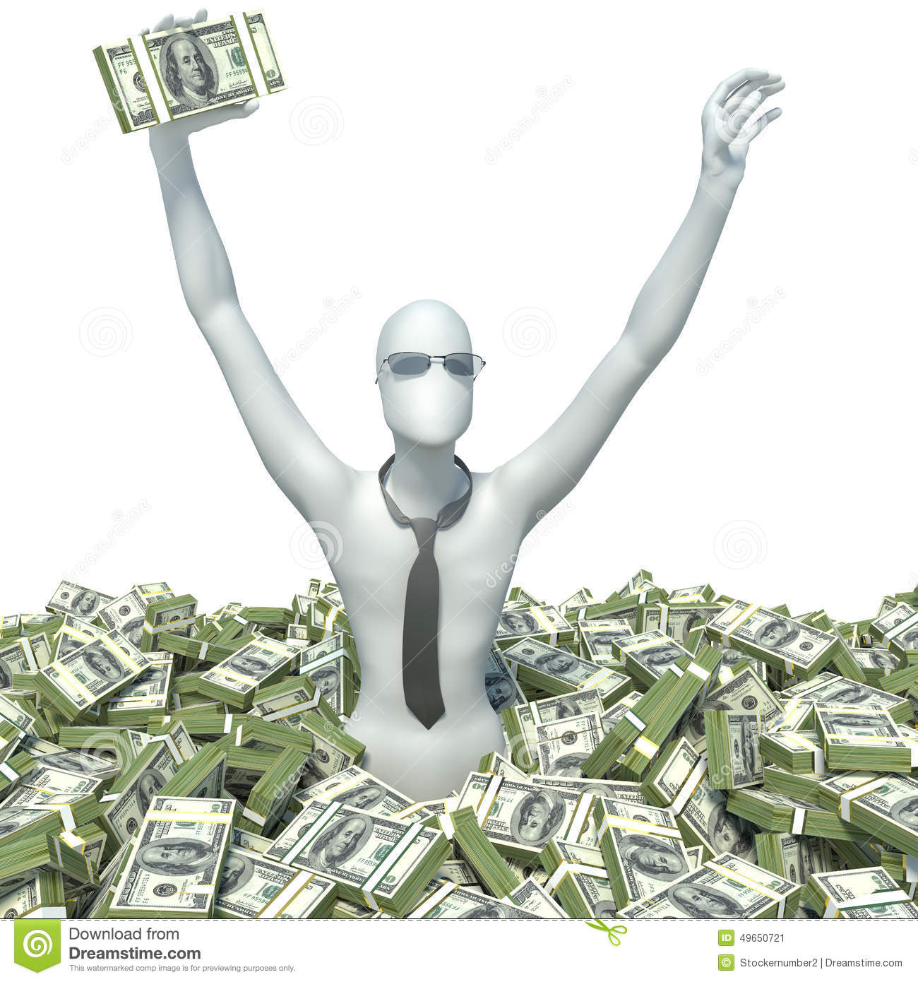 Lots And Lots Of Money : D man and lots of money stock illustration image