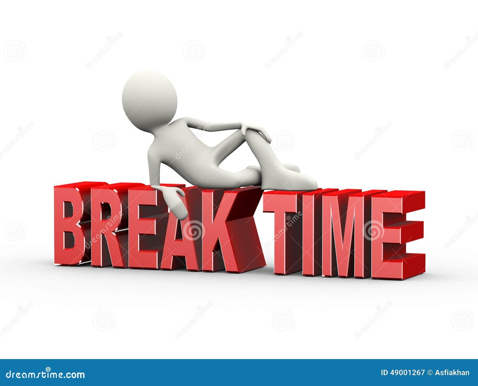 3D Man Lying On Word Break Time Illustration 49001267