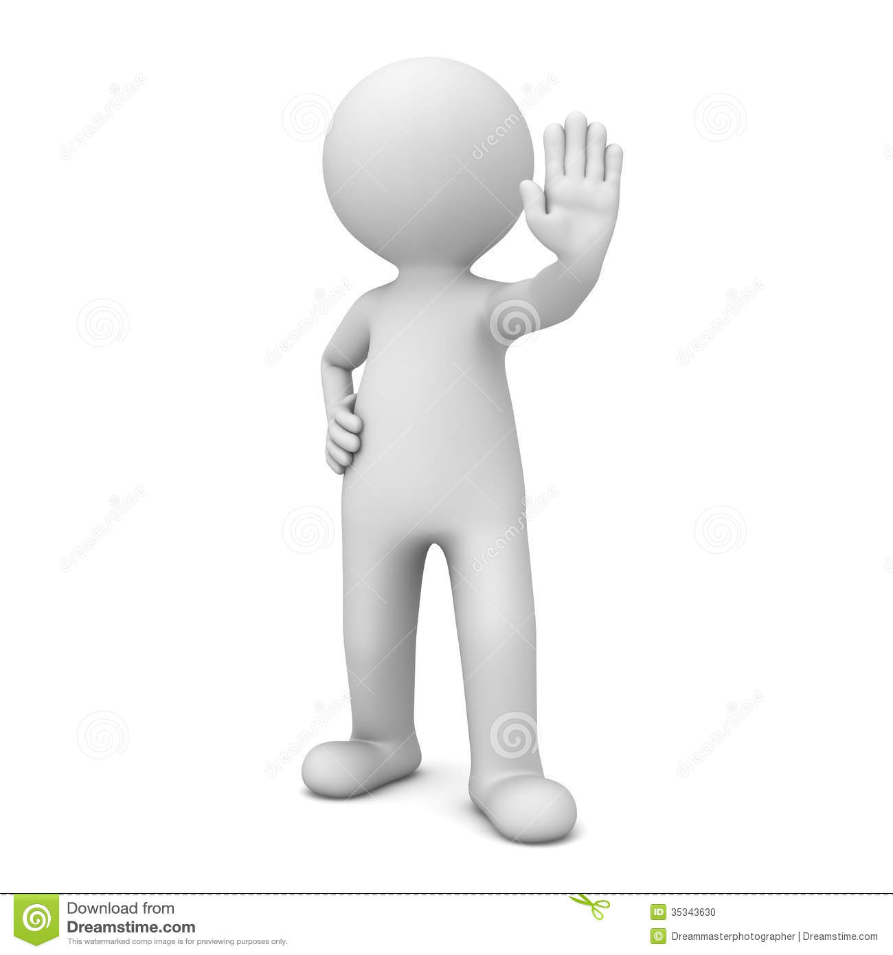 3d Man Making Stop Hand Sign On White Stock Photo - Image ...