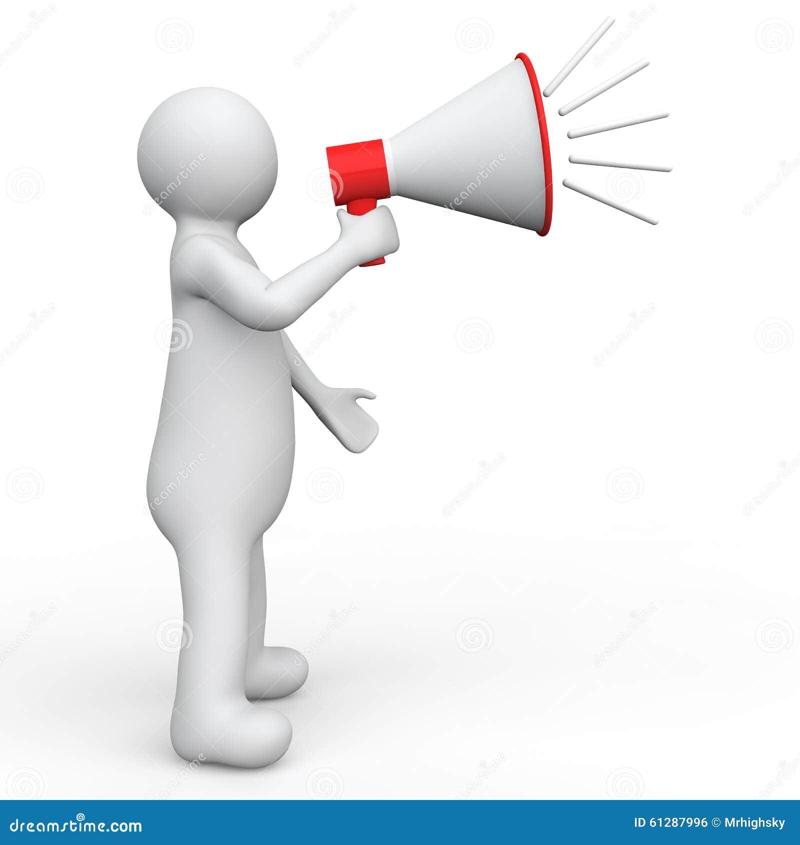 3d man with megaphone stock illustration. Illustration of ...