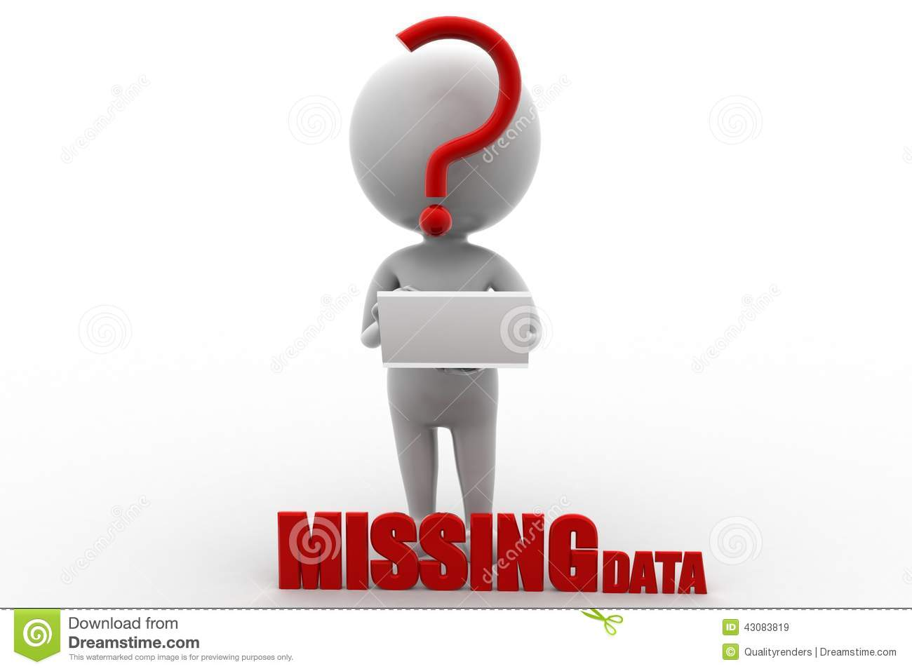 3d man missing data illustration on white background . Front Angle ...