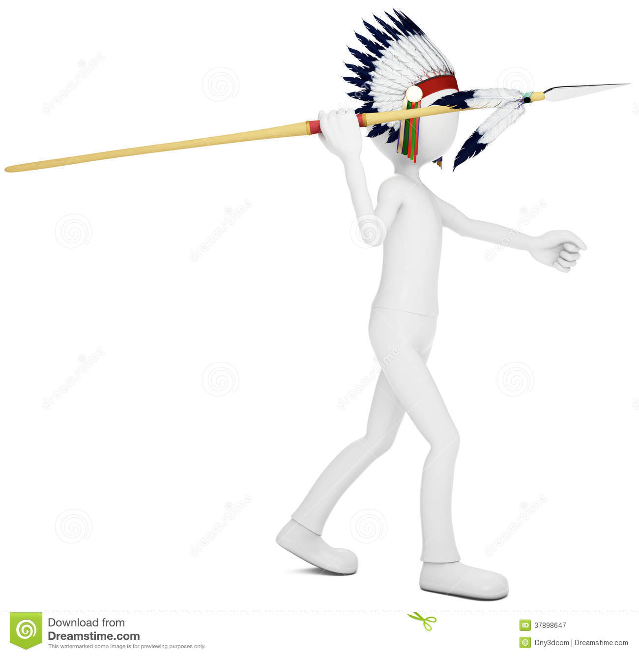 3d Man Native Indian Warrior Throwing Spear Stock
