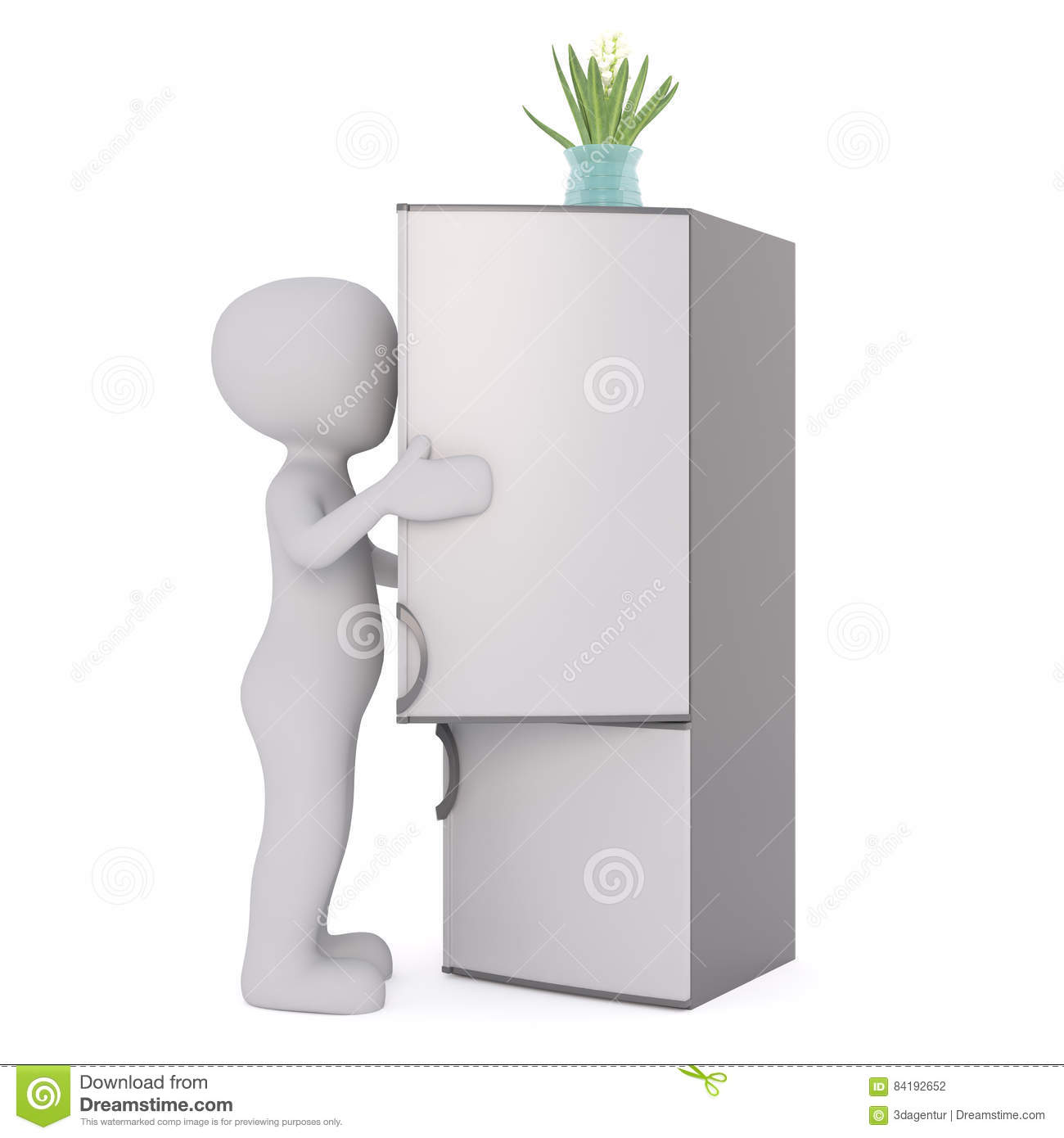 3d Man Opening A Refrigerator Stock Illustration - Illustration of ...