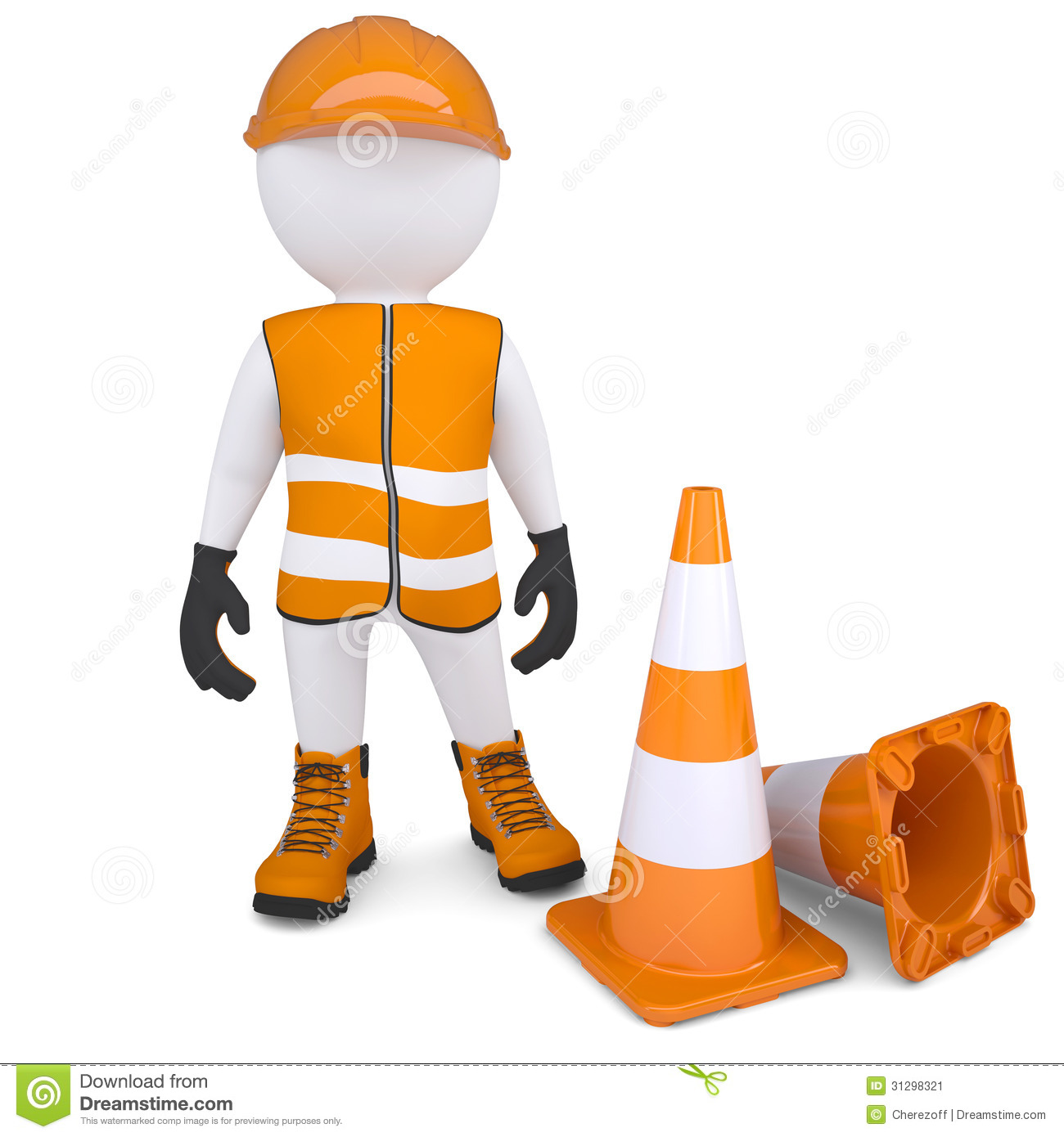 3d man in overalls beside traffic cones. render on a white background. Under Construction Signs
