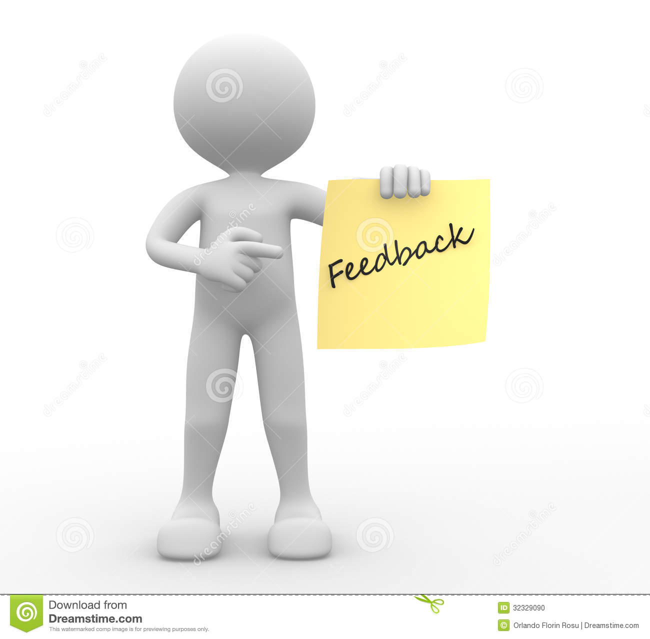 3d Man, Person And Yellow Paper. Feedback Stock Photo - Image ...