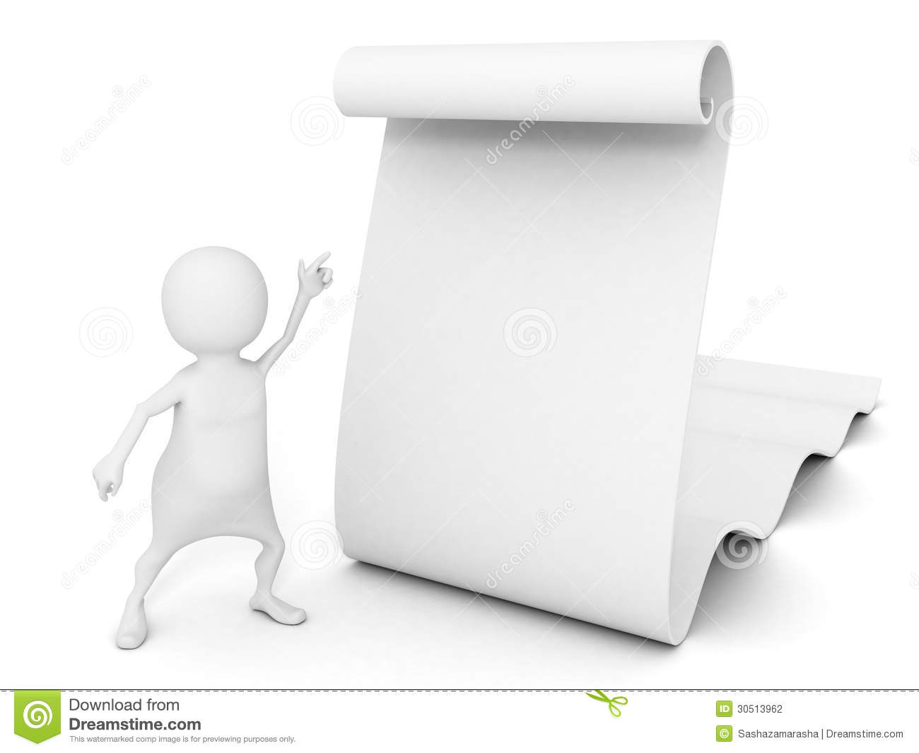 3d Man Pointing At Big Blank Info Paper Scroll Stock