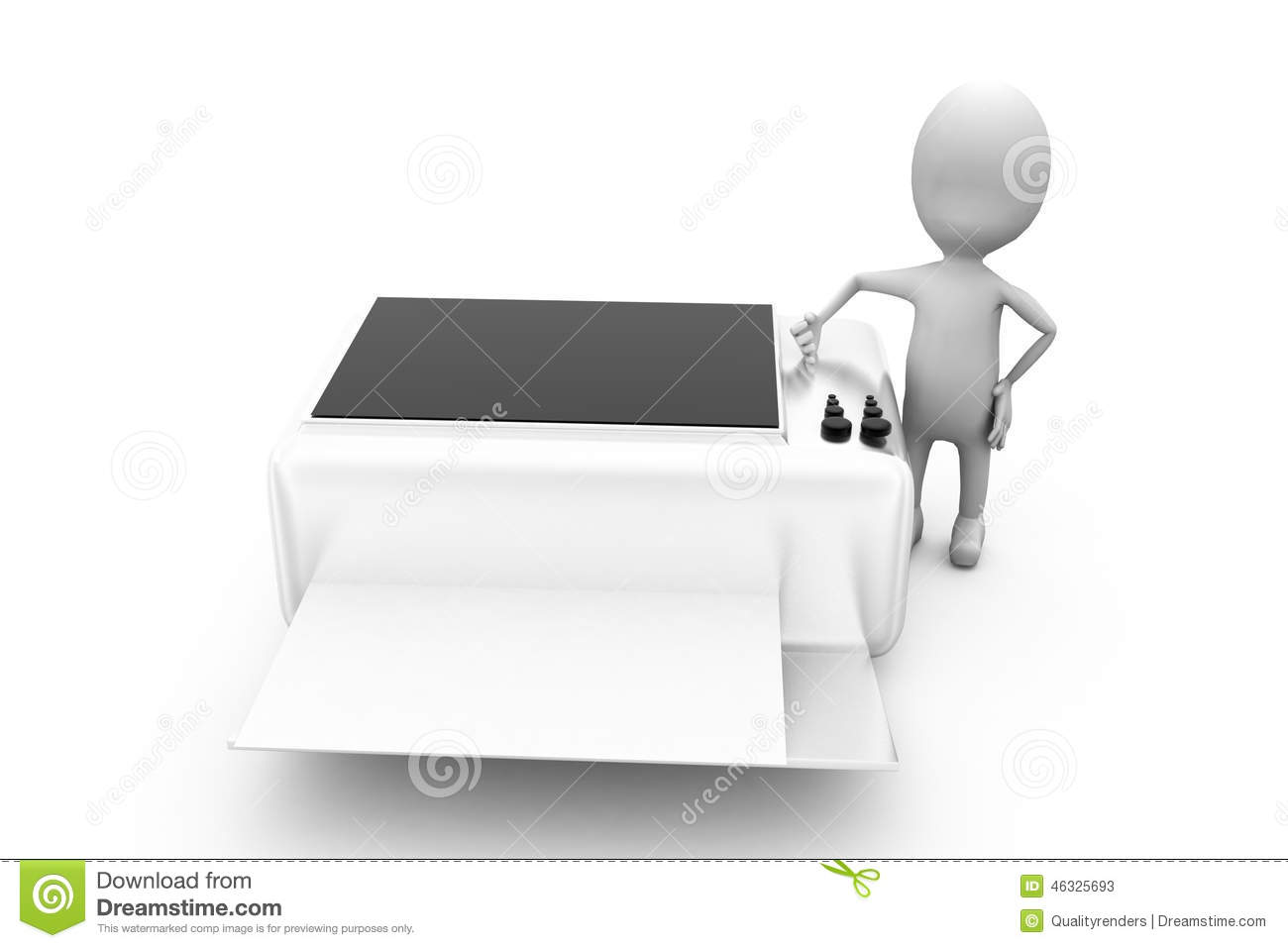 3d Man Printer Concept Stock Illustration Illustration Of