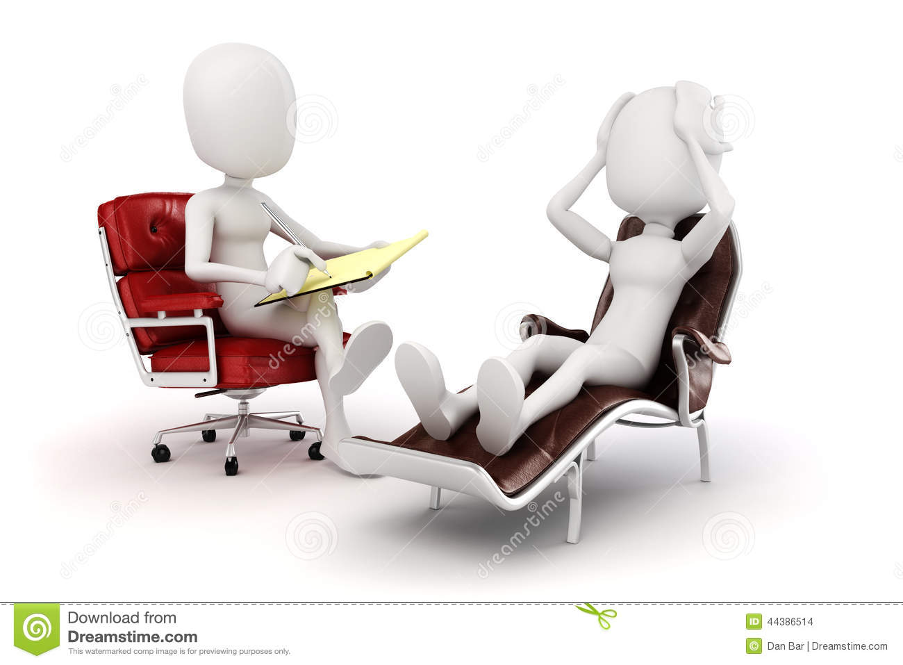 3d Man Psychologist And Patient Stock Illustration - Image: 44386514