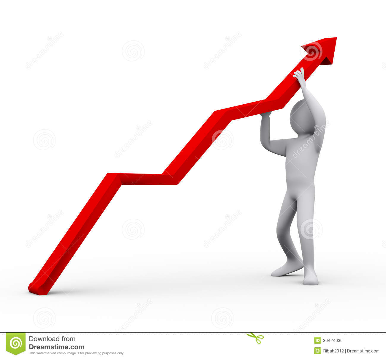3d Man Pushing Red Arrow Upward Stock Illustration