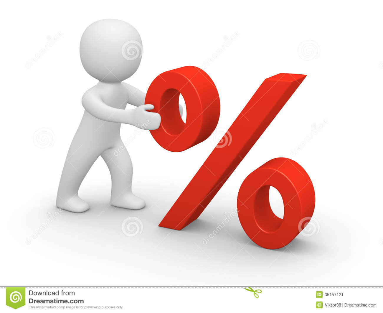 3d man pushing red percent sign