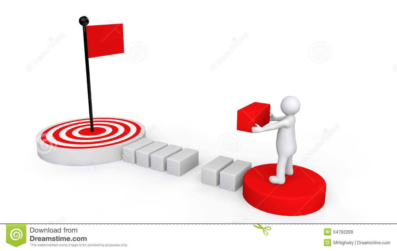 3d man reaching goal plan stock illustration. Illustration ...