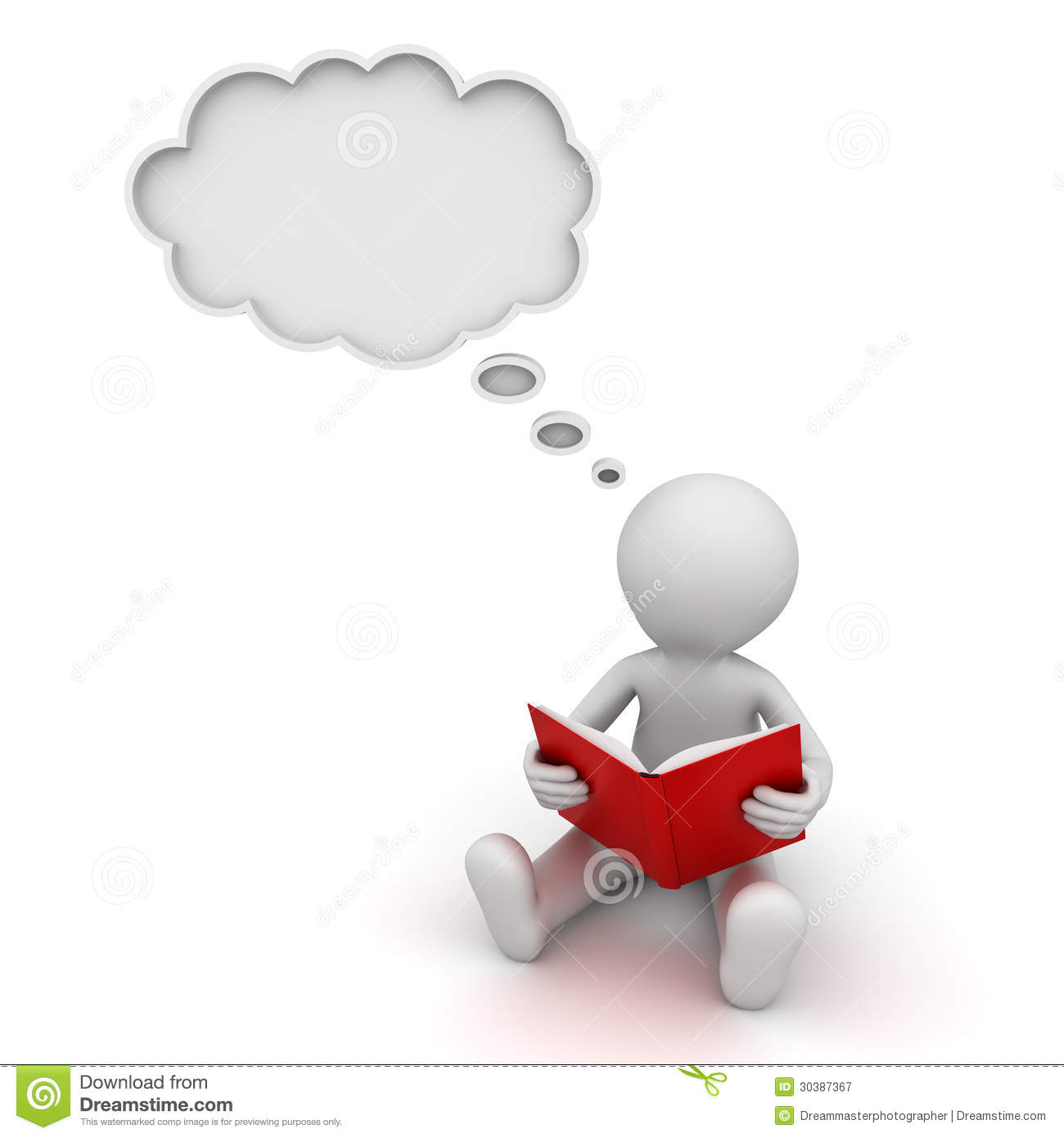 ... : 3d man reading a book and thinking with a thought bubble over white