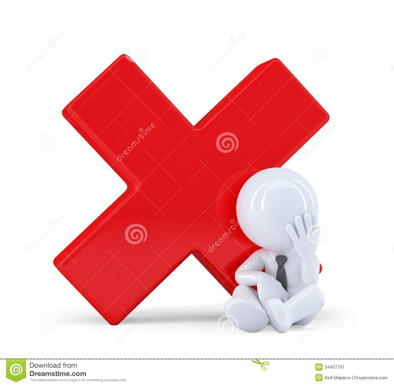 3d man with red check mark stock image  image 34407791