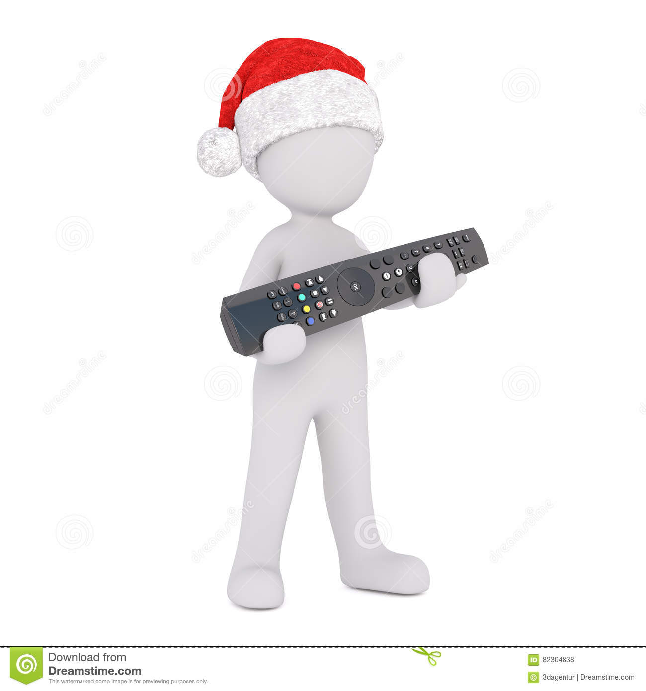 f87236de975f7 3d man in a red Santa hat holding a media remote control in his hands to  celebrate the festive holiday season