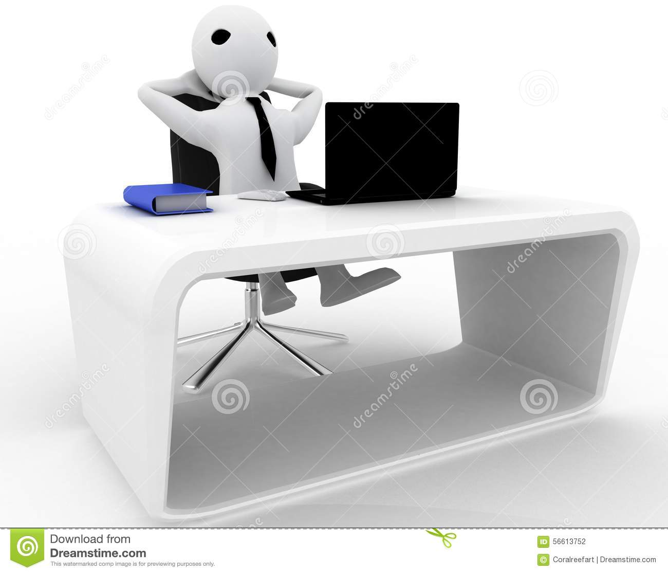 Laptop Chair Desk 3d Man Relaxing In Office On Chair With Laptop And Book On Table