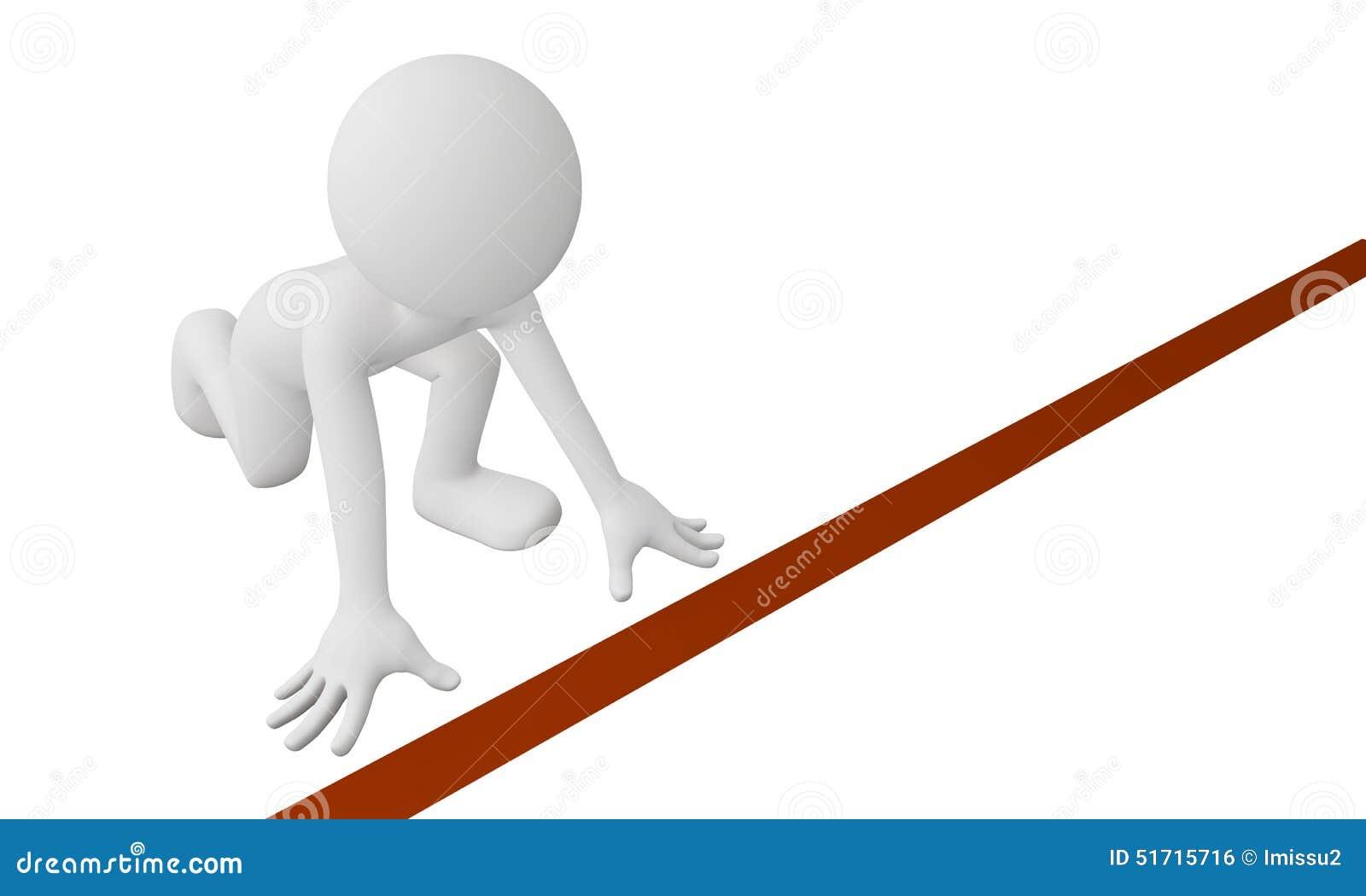 3d man runner at start line stock illustration image for How to start a home decor line