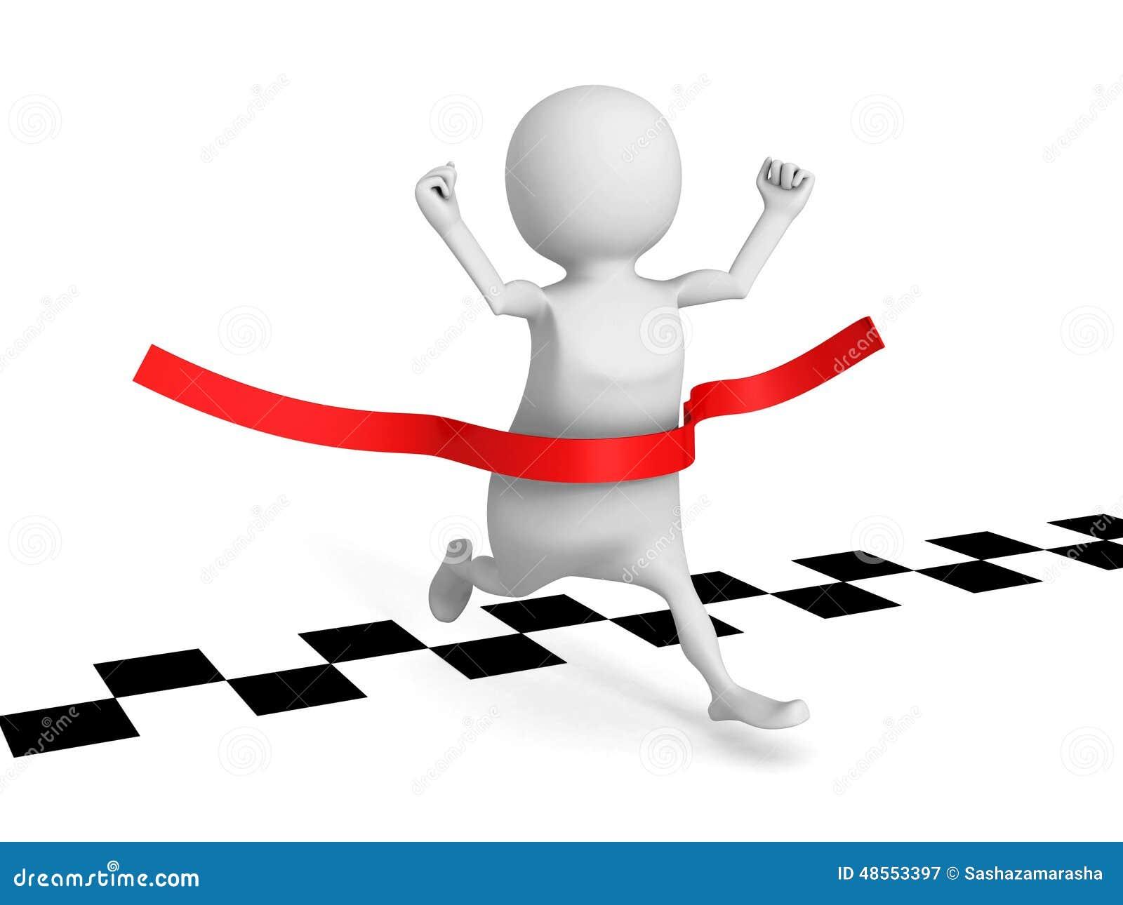 3d man running cross finish line success winning of human race