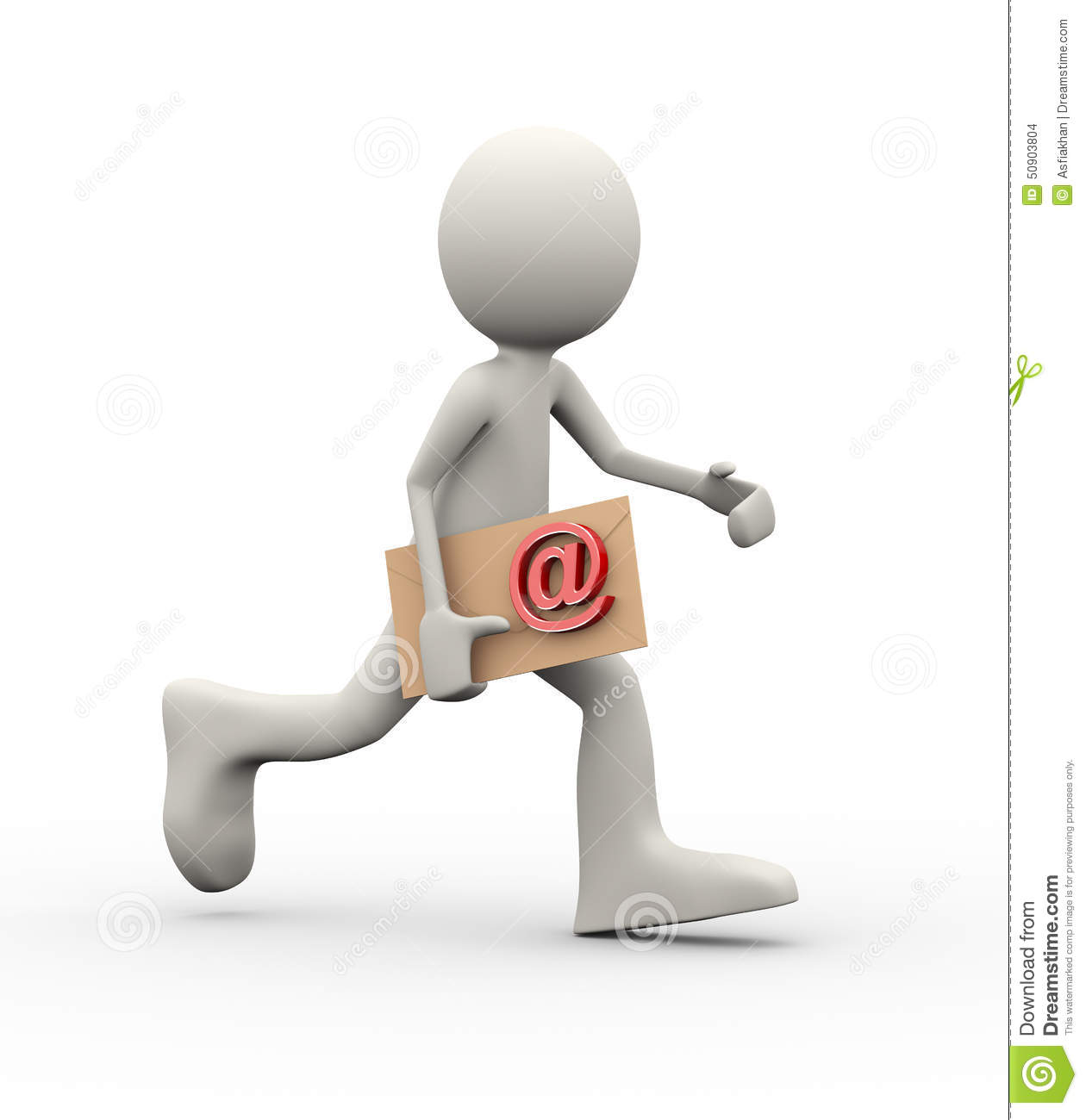 3d man running with email envelop stock illustration image 50903804
