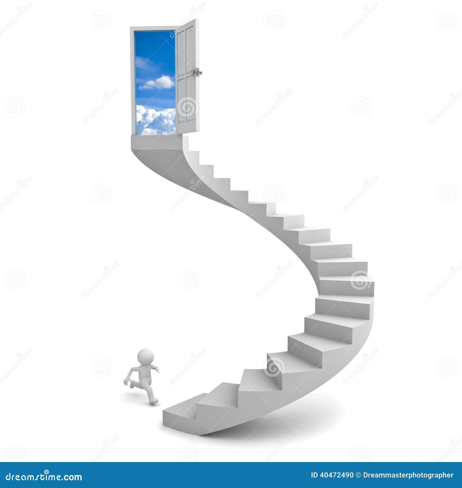 3d Man Running To The Sky Door Royalty Free Illustration