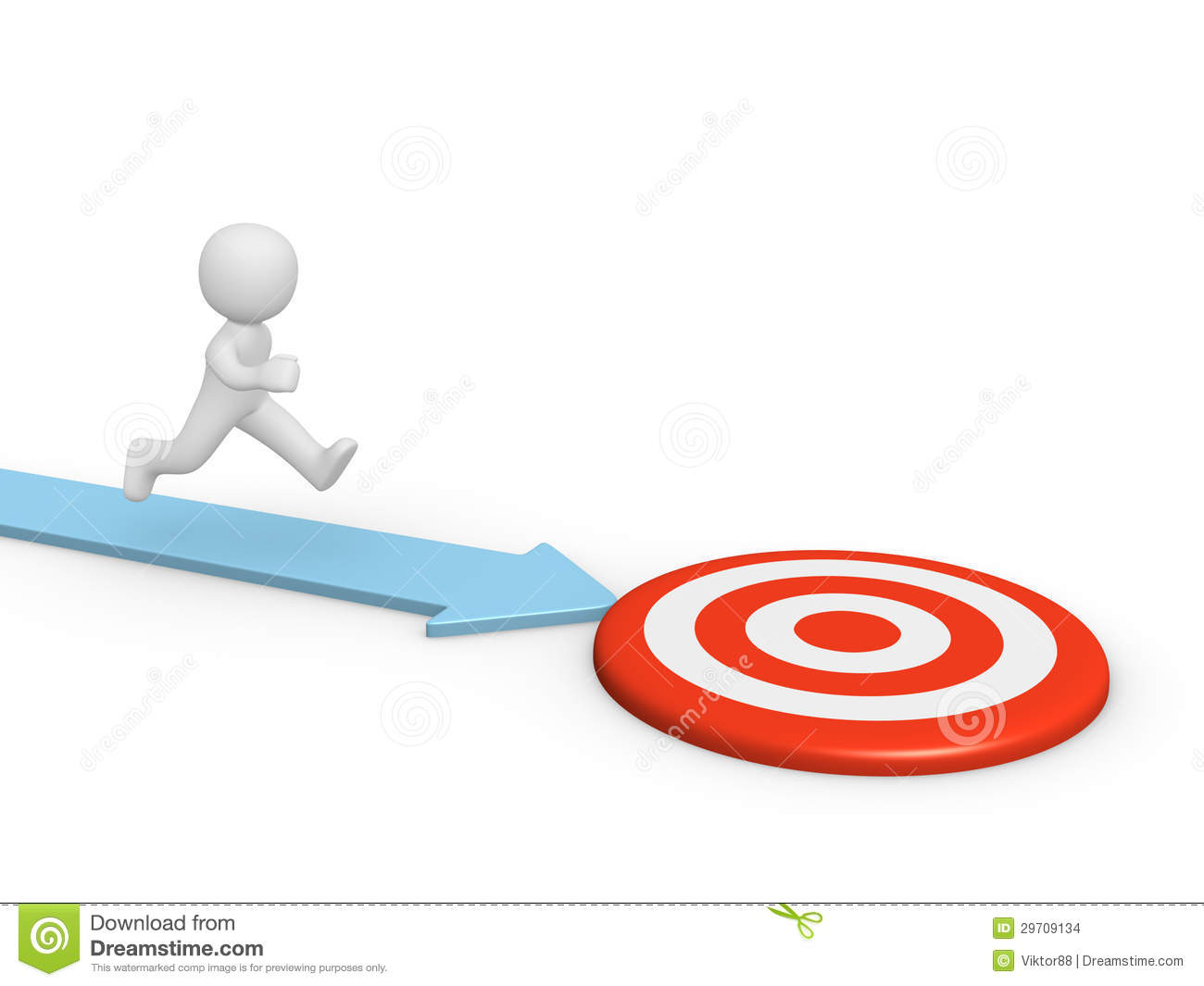 3d Man Running Toward The Target Stock Images - Image: 29709134