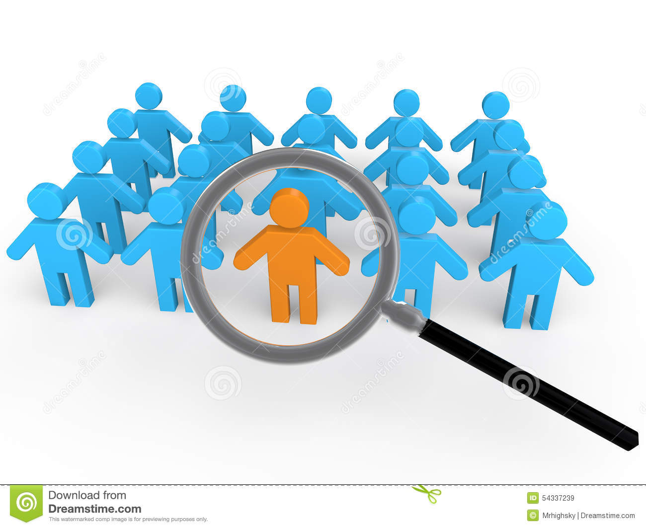 3d man search in the crowd stock illustration image of for Unique one