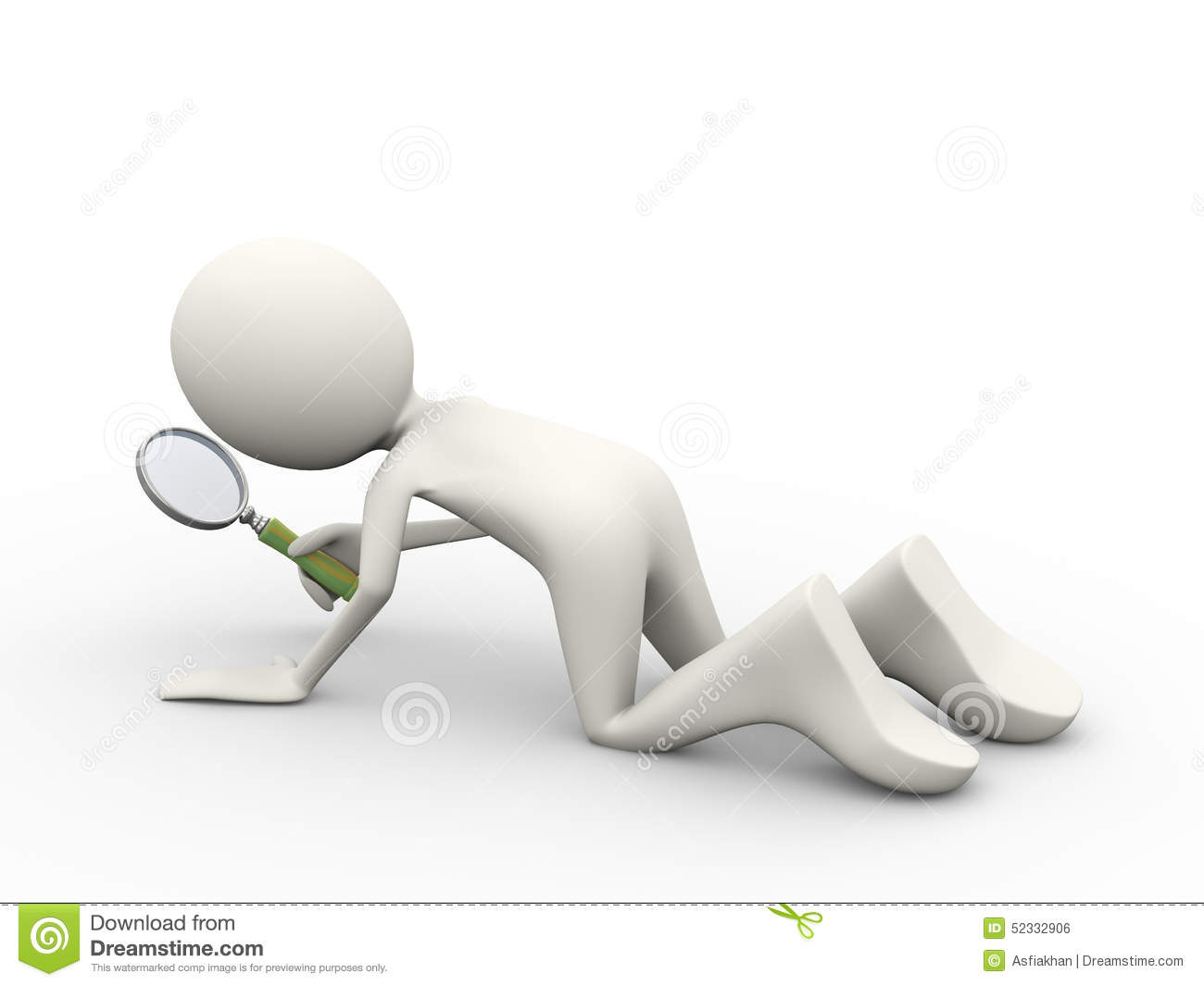 3d Man Searching With Magnifier Stock Illustration