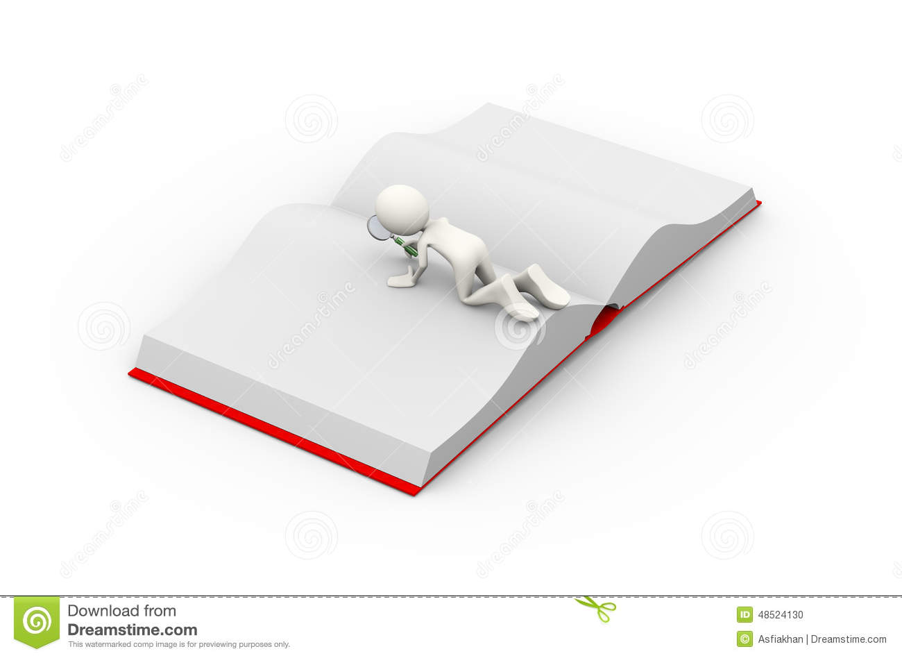 3d Man Searching Open Book With Magnifier Stock